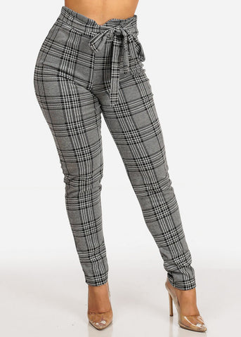 High Rise Houndstooth Print Skinny Pants