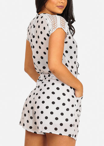 Cute White Polka Dot Romper