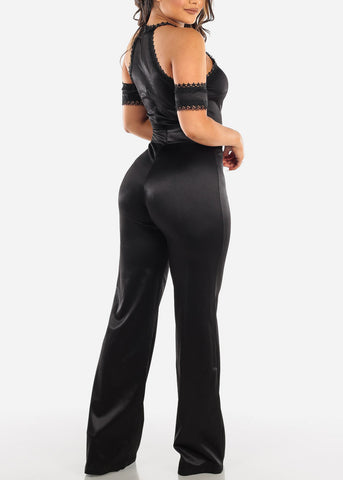 Image of Cold Shoulder Black Halter Jumpsuit
