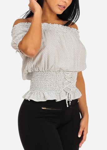 White Polka Dot Elastic Blouse