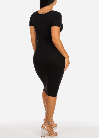 Image of Killin It Sexy Short Sleeve Solid Black Super Stretchy Midi Dress