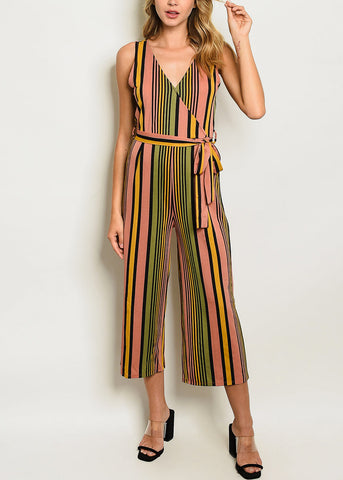 Sleeveless Multicolor Stripe Jumpsuit