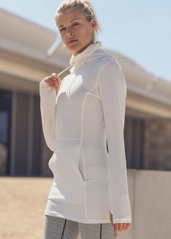 Image of Long Sleeve White Super Sleek Pullover