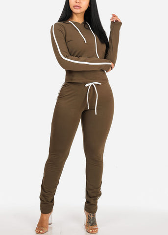 Image of High Rise Stripe Sides Olive Pants