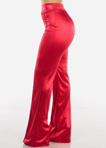 High Rise Red Satin Pants