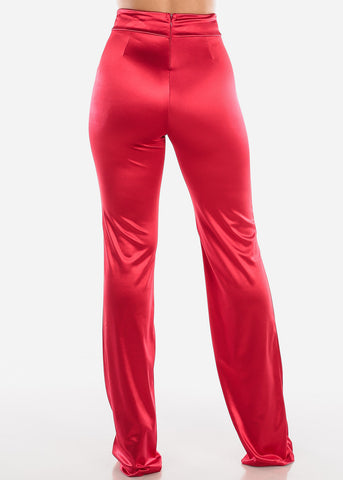 Image of High Rise Red Satin Pants