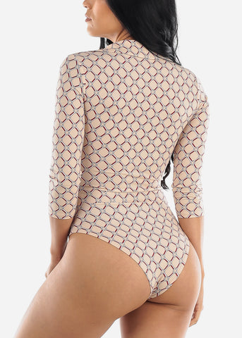 Image of Geometric Printed Beige Bodysuit