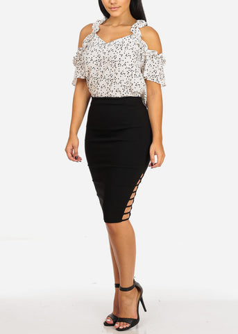 Image of High Rise Cut Out Black Skirt