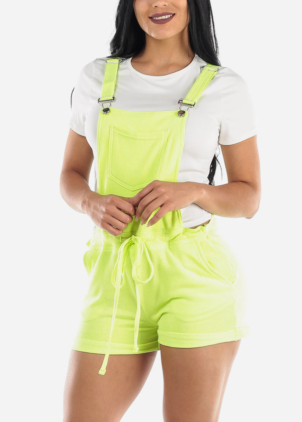 Casual Sleeveless Neon Yellow Short Overall