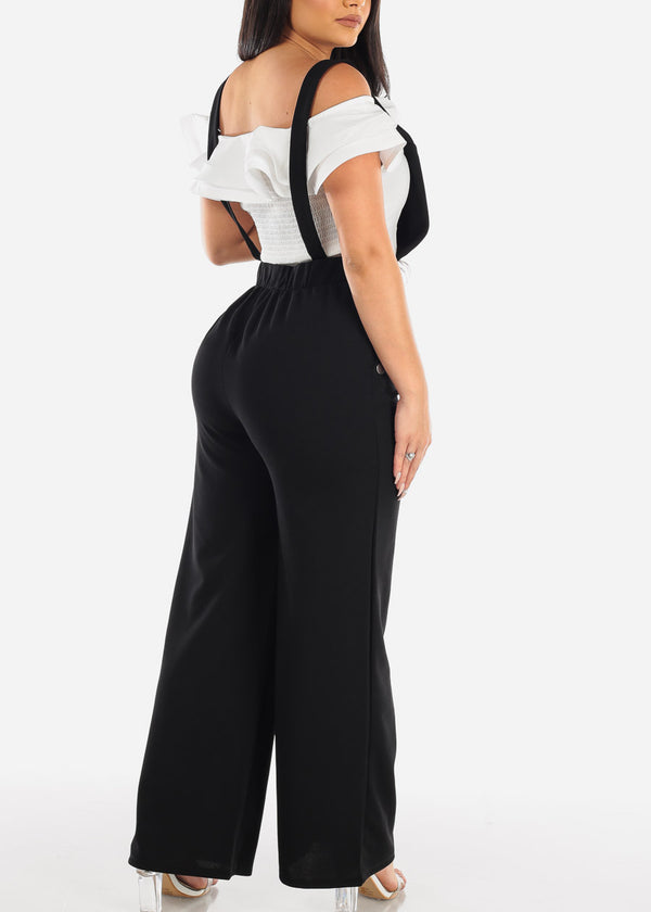 Wide Legged Stretchy Black Overall