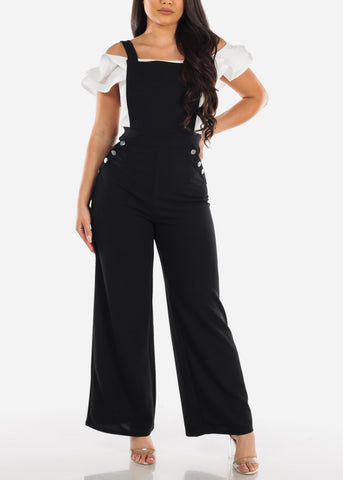 Cute Stretchy Black Overall With Silver Button Detail Jumper Jumpsuit