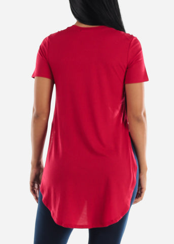 Side Slits Red Tunic Top