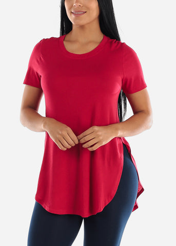 Image of Side Slits Red Tunic Top