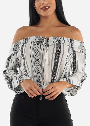 Image of White Printed Off Shoulder Top