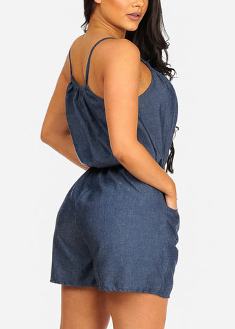 Stylish Flowy Sexy Halter Dark Wash Denim Romper