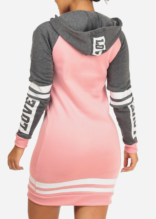 Cozy Pink Love Sweater Dress