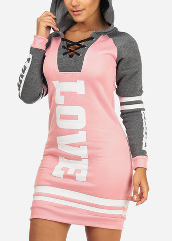 Image of Cozy Pink Love Sweater Dress