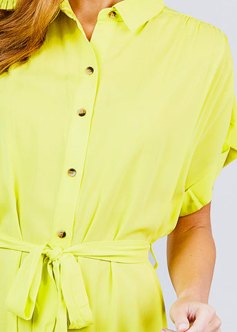 Image of Button Front Belted Lime Shirt Dress