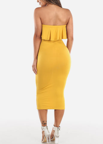 Image of Strapless Mustard Bodycon Midi Dress