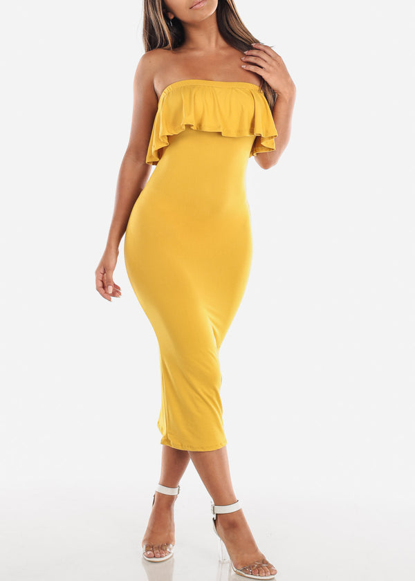 Strapless Mustard Bodycon Midi Dress
