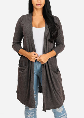 Image of Cozy Grey Open Front Maxi Cardigan