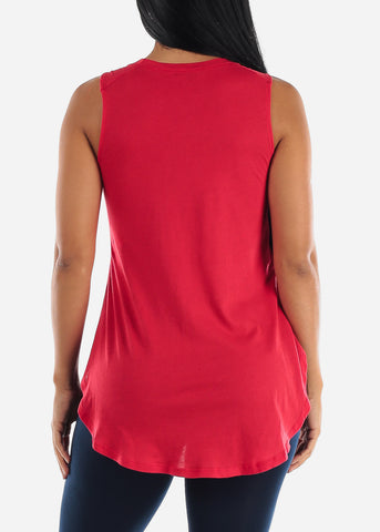 Image of Sleeveless Red Muscle Tee