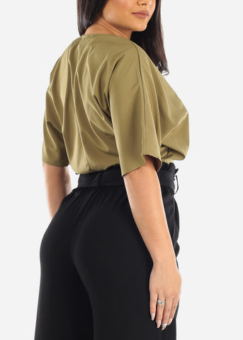 Image of Wrap Front Olive Crop Top