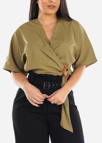 Image of Sexy Wrap Front Olive Lightweight Crop Top For Women Ladies Junior