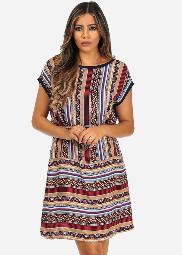Red Aztec Mini Dress