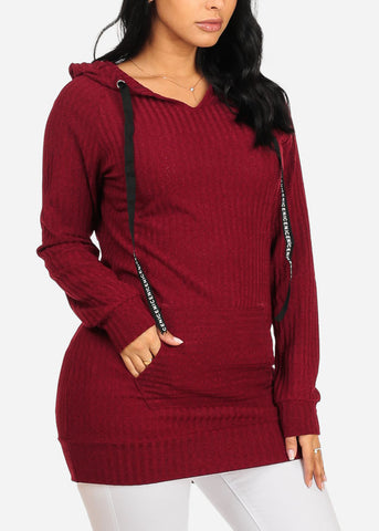 Cozy Long Sleeve Kangaroo Pocket Stretchy Knitted Burgundy Tunic Top W Hood