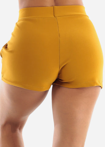 Mustard High Rise Dress Shorts