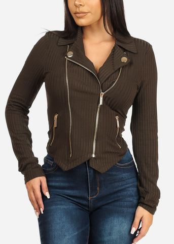 Moto Zip Up Olive Ribbed Jacket