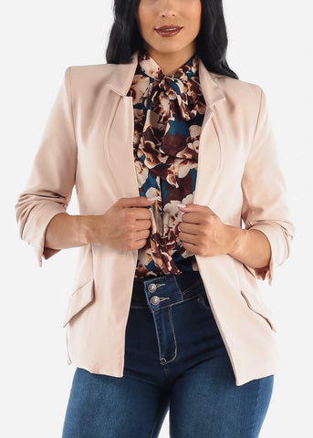 Blush Open Front Blazer