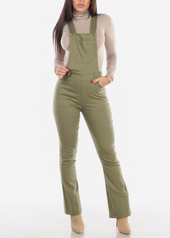 Image of Wide Legged Olive Overall