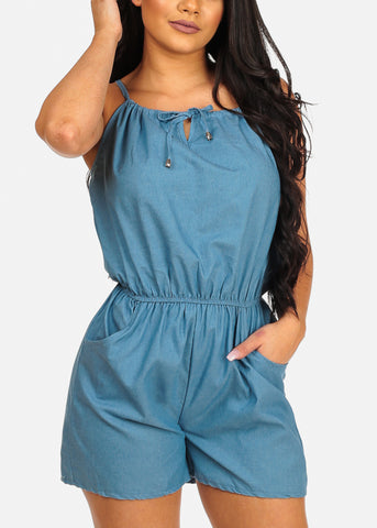 Stylish Flowy Sexy Halter Light Wash Denim Romper