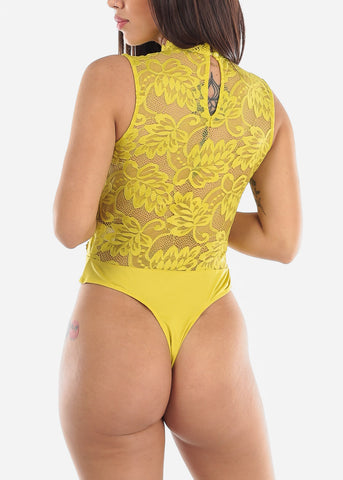 Yellow Floral Crochet Lace Bodysuit