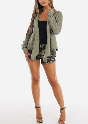 Image of Cute Essential Lightweight Olive Open Front Long Sleeve Cardigan For Women Ladies Junior