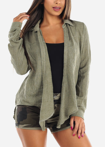 Cute Essential Lightweight Olive Open Front Long Sleeve Cardigan For Women Ladies Junior