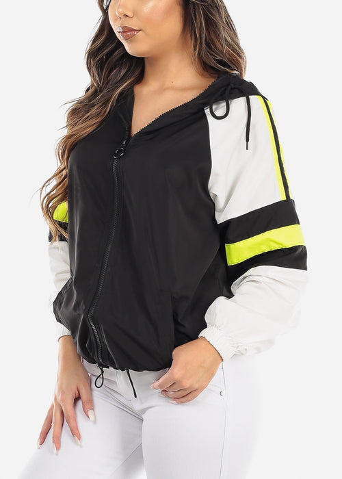 Black Colorblock Windbreaker Jacket
