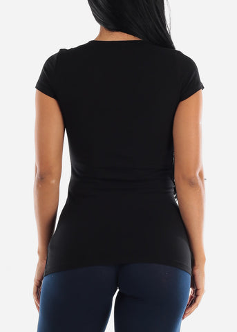 V-Neck Basic T-Shirt (Black)