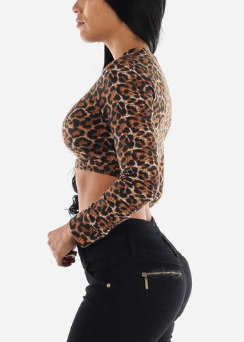 Image of High Neck Animal Print Crop Top