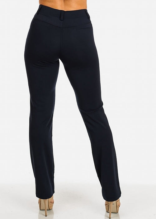 Dressy Navy High Rise Straight Leg Pants