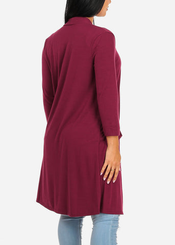 Cozy Wine Open Front Maxi Cardigan