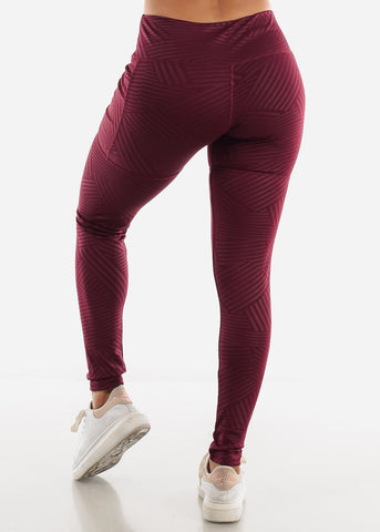 Image of Burgundy Stripe Activewear Leggings