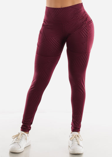 Burgundy Stripe Activewear Leggings