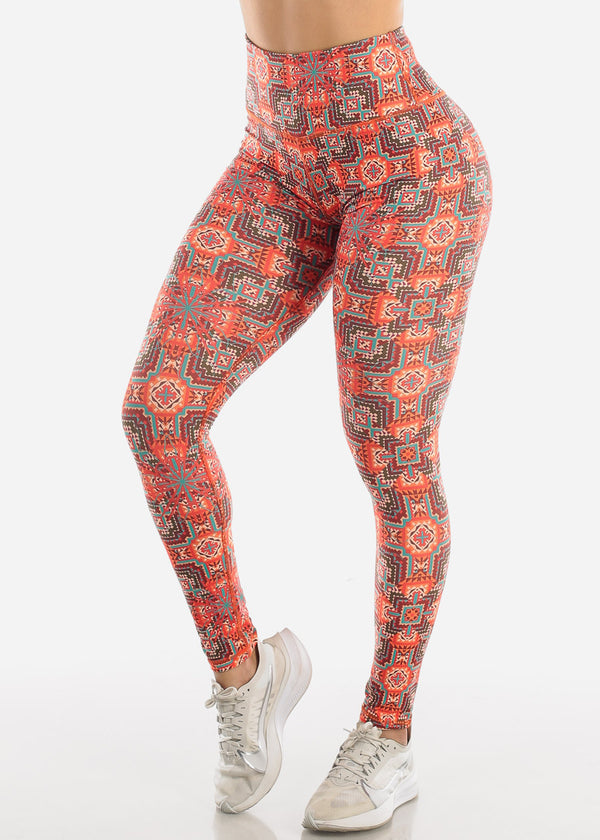 Activewear Multicolor Aztec Print Leggings