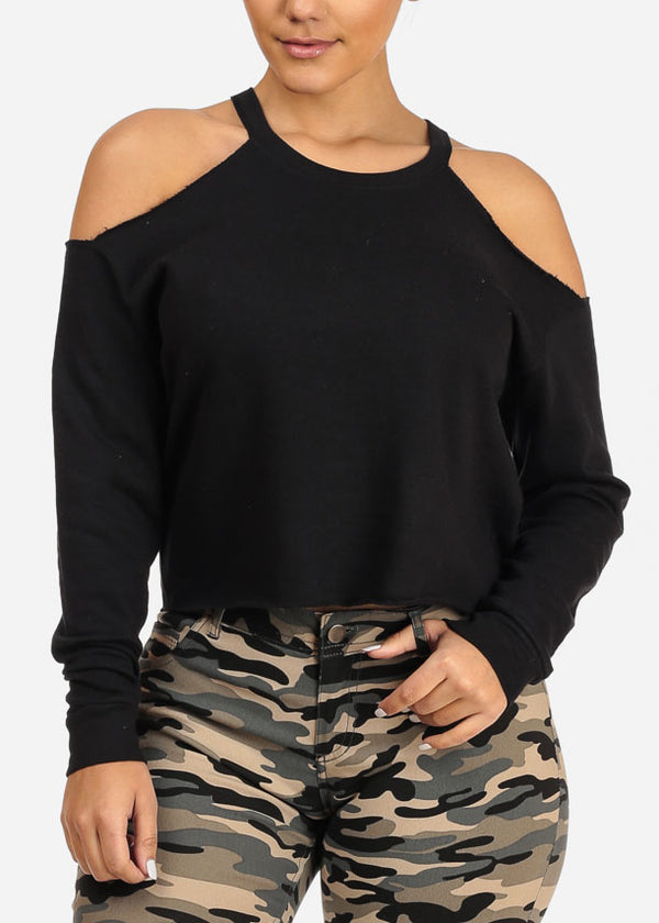 Cozy Cold Shoulder Black Top