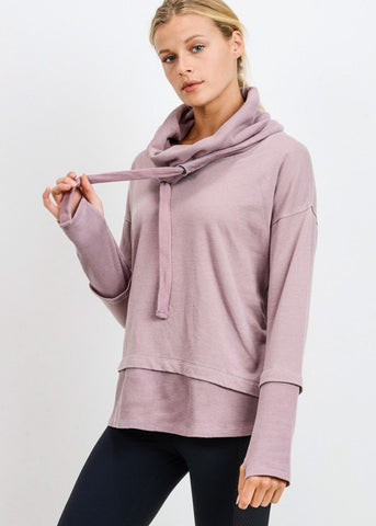 Image of Cowl Neckline Dusty Pink Pullover