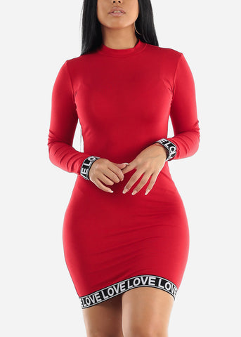 Image of High Neck Red Bodycon Mini Dress