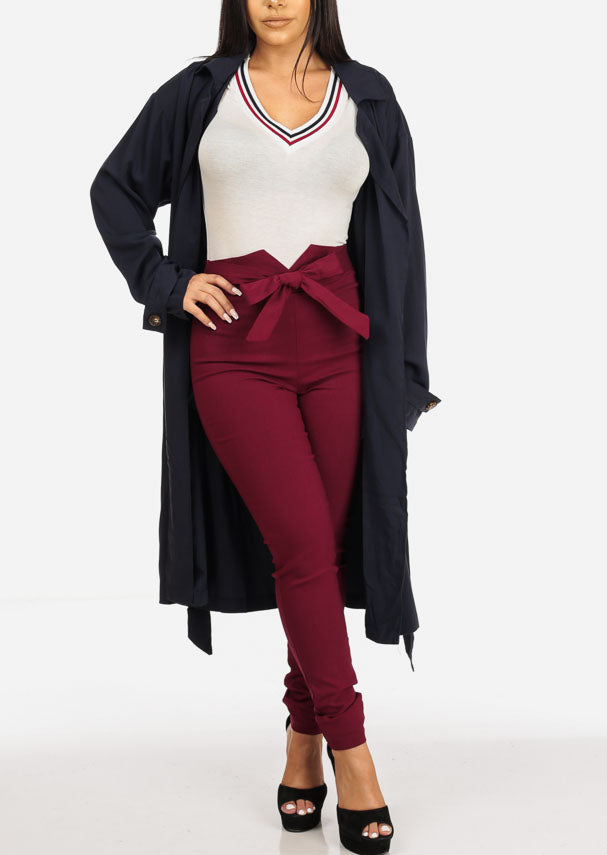 Burgundy High Rise Skinny Pants